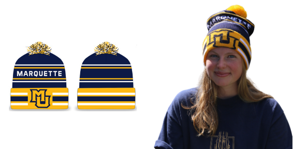 Marquette student wearing the knit hat. Plus, a front and back view of the hat.