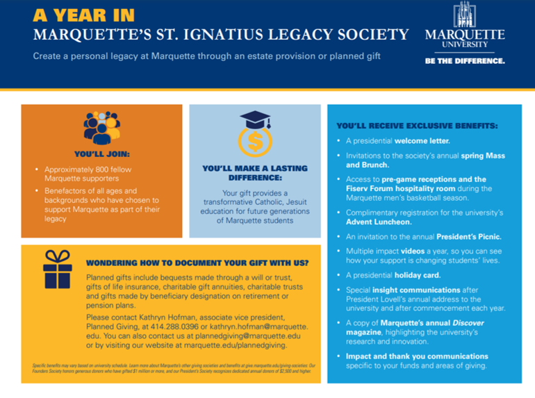 Benefits of Marquette's Legacy Society