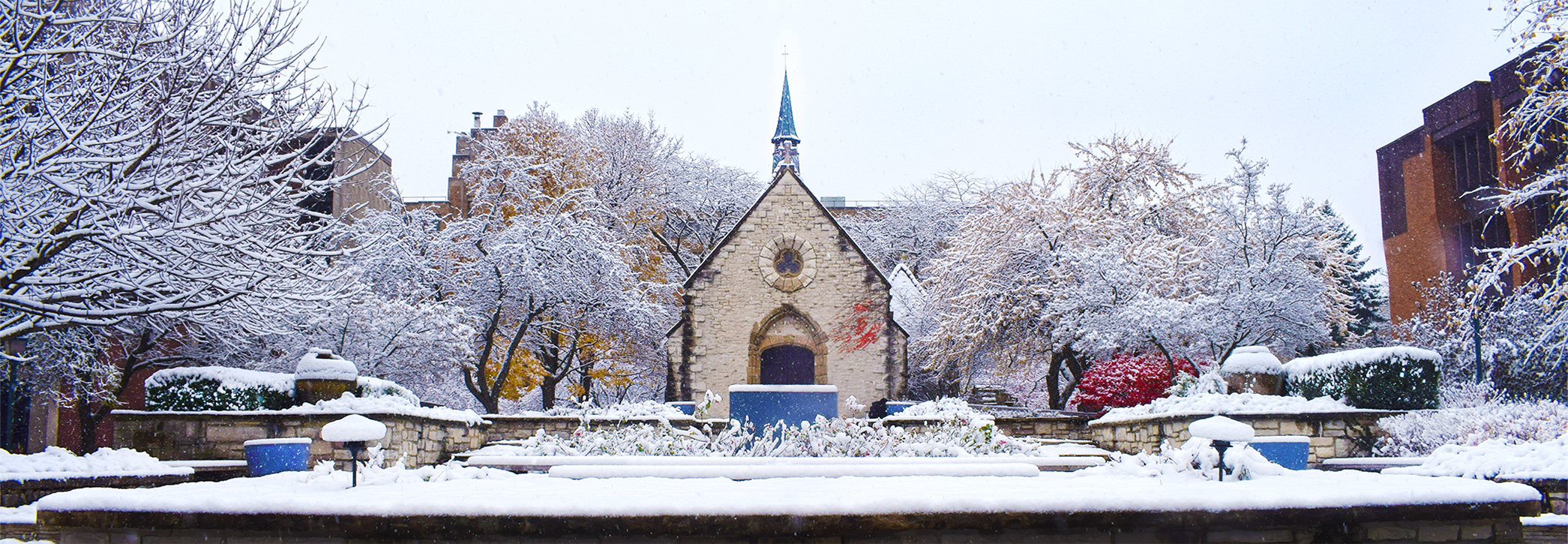 St. Joan of Arc Chapel in the winter.